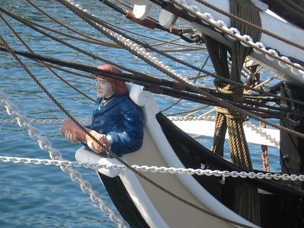 Wooden figurehead of the Pilgrim is a representation of Richard Henry Dana Jr.
