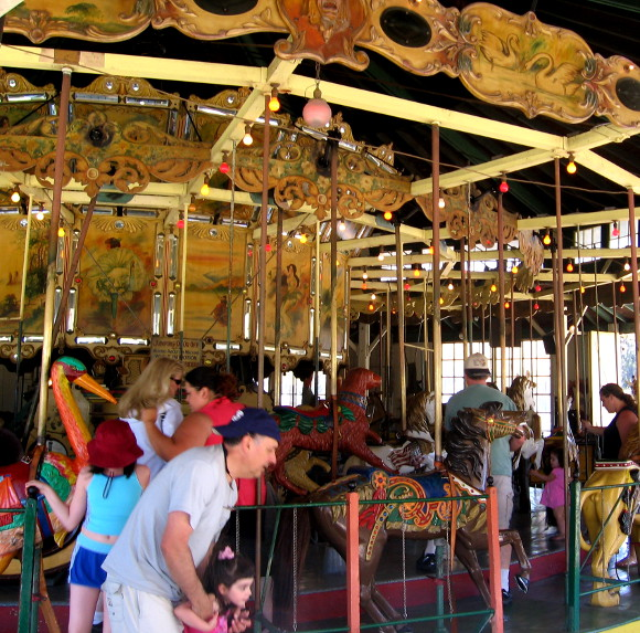 The merry-go-round features 27 horses and 25 menagerie animals.