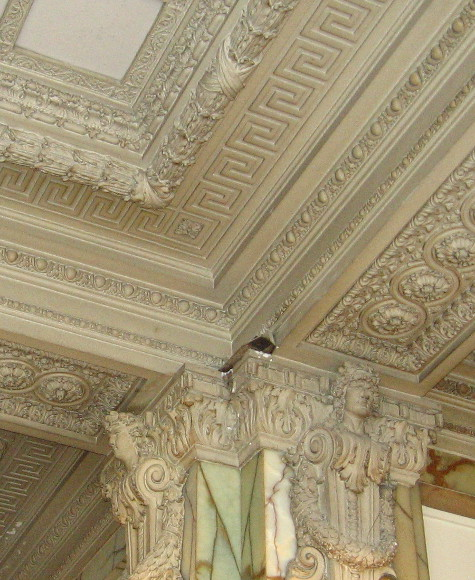 Close look at ornate ceiling in the lobby.