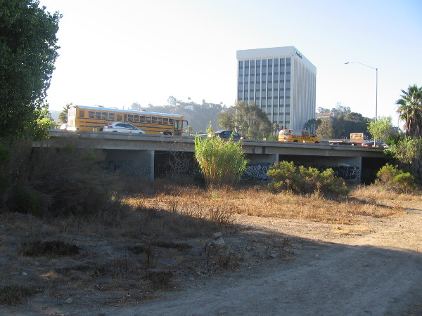 Looking under Highway 163 where the homeless often pass or gather.