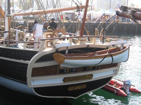 Stern of the brig Pilgrim at the 2014 Festival of Sail.