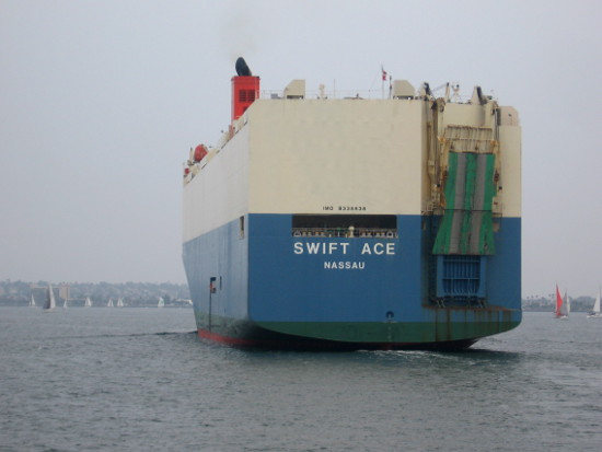 Swift Ace car transport ship leaves San Diego Bay.