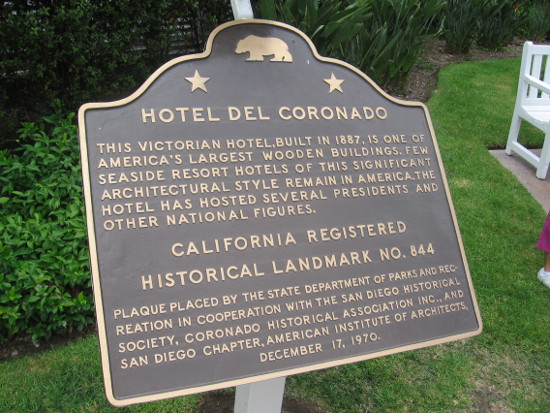 The Hotel del Coronado is a California historical landmark.