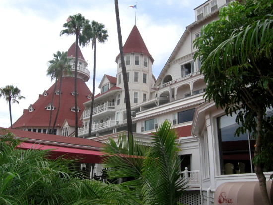 View of Hotel del Coronado near the front entrance.