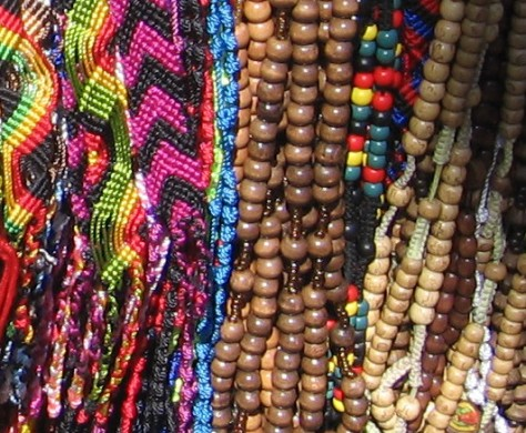 Beads are a common product on sidewalks along the Embarcadero.