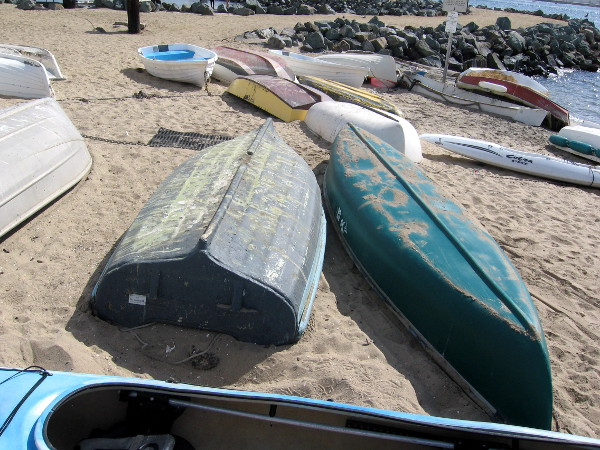 Colorful sandy-bottomed boats lie on the sand near Shelter Island boat ramp.