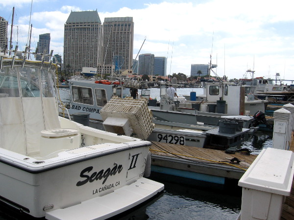 Fishing boats docked in Tuna Harbor next to downtown San Diego.