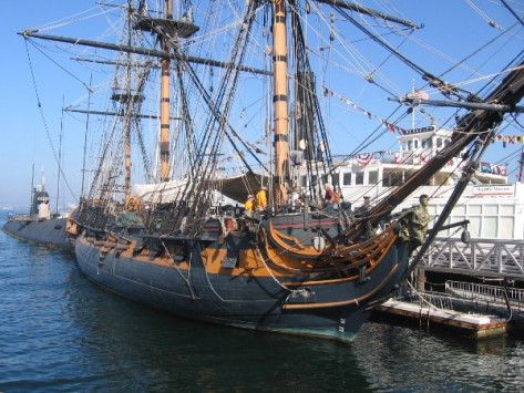 The many ships of the San Diego Maritime Museum took part, including HMS Surprise.
