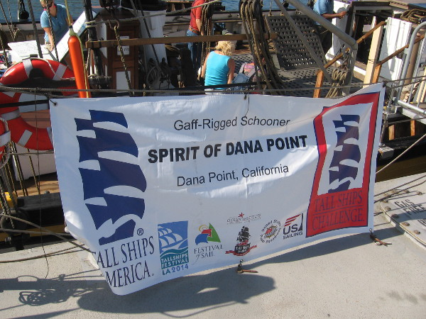 Gaff-rigged schooner Spirit of Dana Point was tied up next to the Pilgrim.