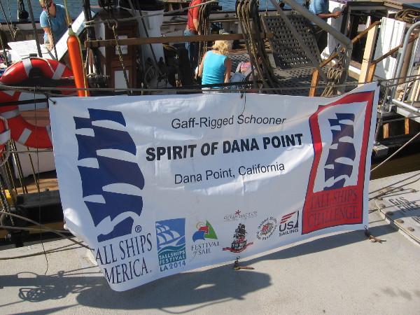 Gaff-rigged schooner Spirit of Dana Point was tied up next to the Pilgrim.