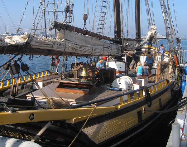 Early morning festival visitors check out the Spirit of Dana Point.