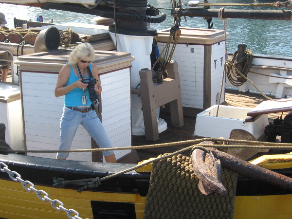 One of several photographers looking for cool shots on the beautiful ships.