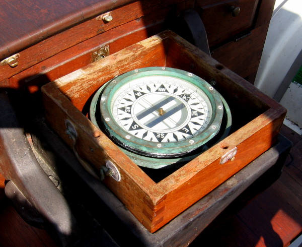 Ship's compass is another typical nautical sight.