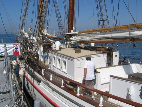 The ship's twin--the Exy Johnson--is tied up on the opposite side of the dock.