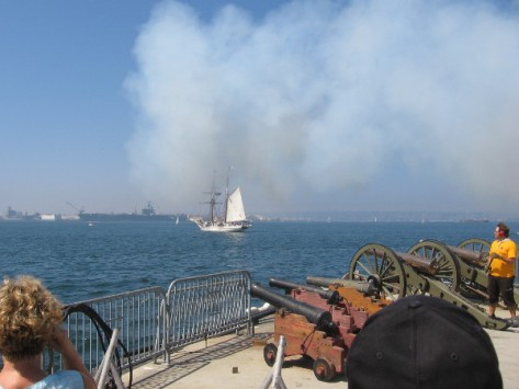 Pic taken moments after the mainland battery fired a cannon!
