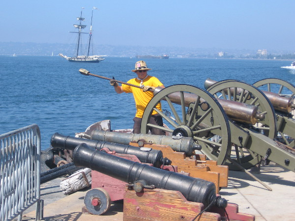 While cannon is cleaned, the Exy Johnson and Californian begin a duel on the bay!
