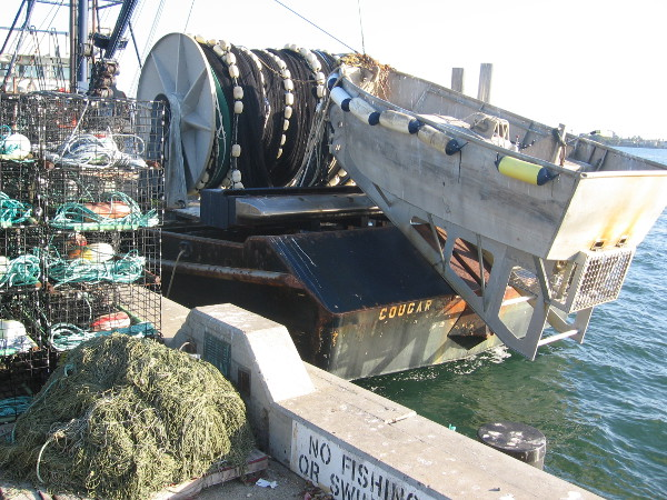 Live bait boat docked at Tuna Harbor Pier on San Diego Bay.