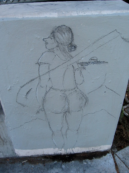 Mysterious unfinished street art of woman holding hamburger.
