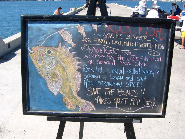 Artistic chalkboard tells curious customers how to prepare yummy rock fish.