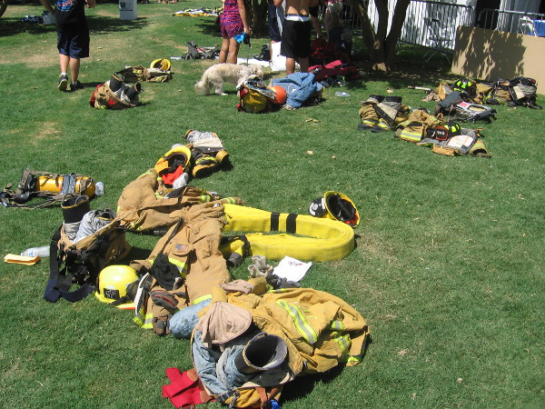 Heavy firefighting gear flung off after a very difficult climb.