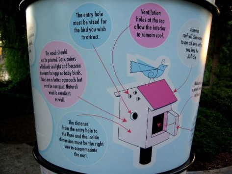 Display near center of park shows how to build a birdhouse.