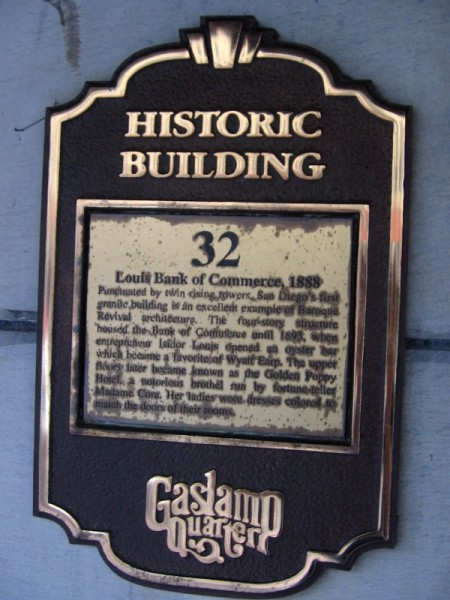 Plaque tells a bit about the Louis Bank of Commerce.