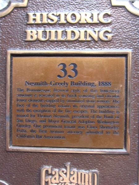 Nesmith-Greeley Building was built in the Romanesque Revival style.