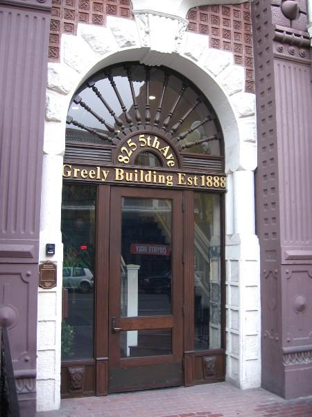 Elegant doorway of the 1888 building.