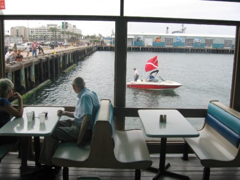 Looking out at diving boat from inside Anthony's Fishette.