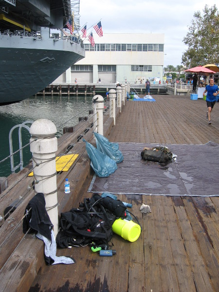 The boardwalk near the USS Midway was full of activity.