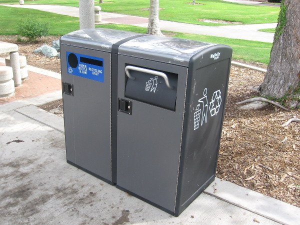 New trash compacting and recycling cans along the Embarcadero are solar powered.
