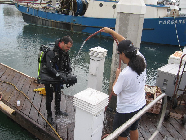 Scuba diver gets hosed off on Tuna Harbor dock after gathering trash.