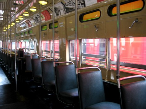 Turning around, we notice the beautiful streetcar appears almost empty at the moment.