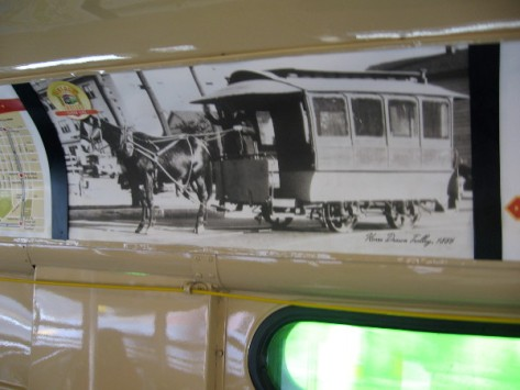 Here's an old photo of a streetcar that was pulled by a horse--or is that a mule.