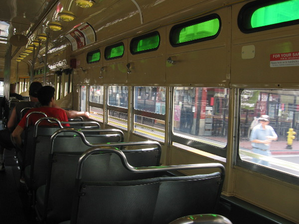 These windows open, so riders can enjoy the fresh air outside.