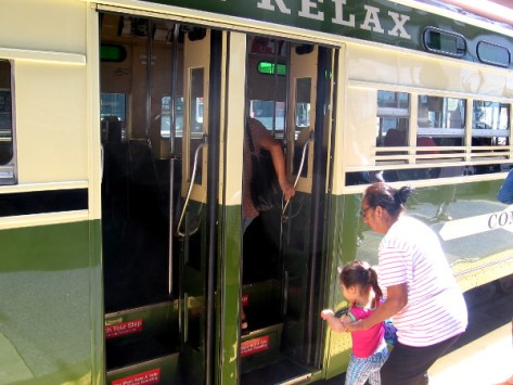 As we get off at City College, other folks step aboard the historic streetcar.