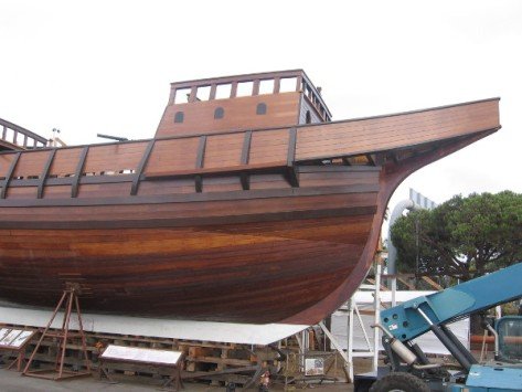 Bow modeled after historic ship sailed by explorer Cabrillo in 1542.