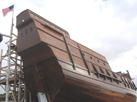 Stern of the wooden galleon that will sail on the Pacific in early 2015.