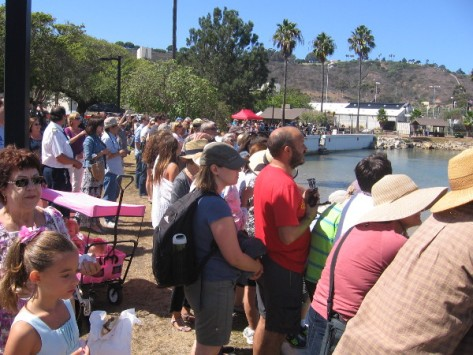 Visitors to the 51st Annual Cabrillo Festival await recreation of historic event.