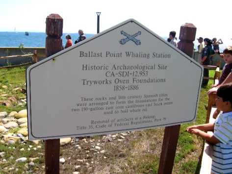 Sign at Ballast Point tells about archeological site of old Spanish whaling station.