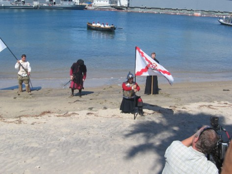 Cabrillo now plants a Spanish Cross of Burgundy flag on soil of New World.
