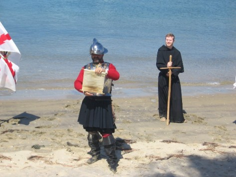 A proclamation is read on behalf of Spain by Portuguese explorer Cabrillo.
