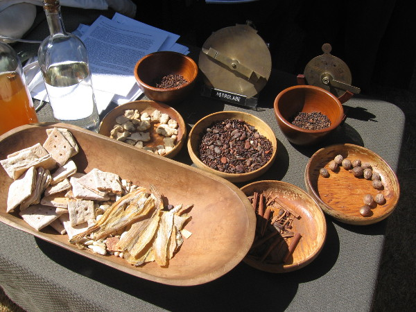 Biscuits, nuts and an astrolabe are typical items carried on a Spanish galleon.