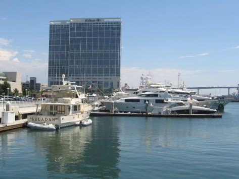 Looking south toward Hilton hotel behind San Diego Convention Center.