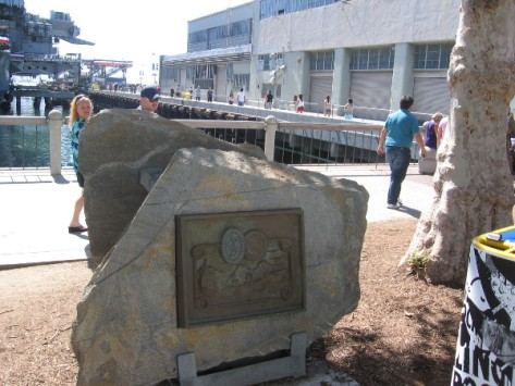 Mysterious plaque by Midway Museum commemorates Navy's 200 year anniversary.