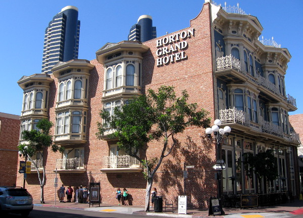 The Horton Grand Hotel stands in downtown San Diego's Gaslamp Quarter.