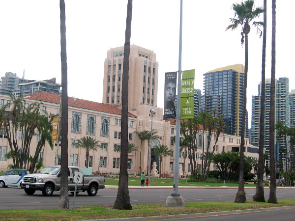 View from the west, across Harbor Drive.
