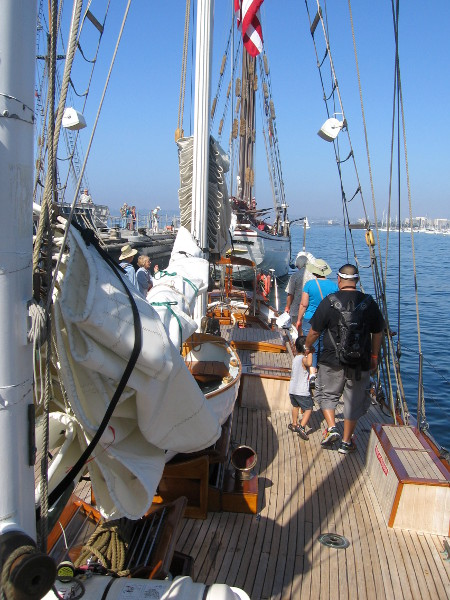 Visitors check out the small schooner Curlew.