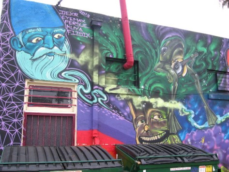 Magical blue gnome and banjo-playing frog are elements in awesome mural.