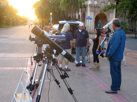 San Diego Astronomy Association members set up telescopes in Balboa Park.